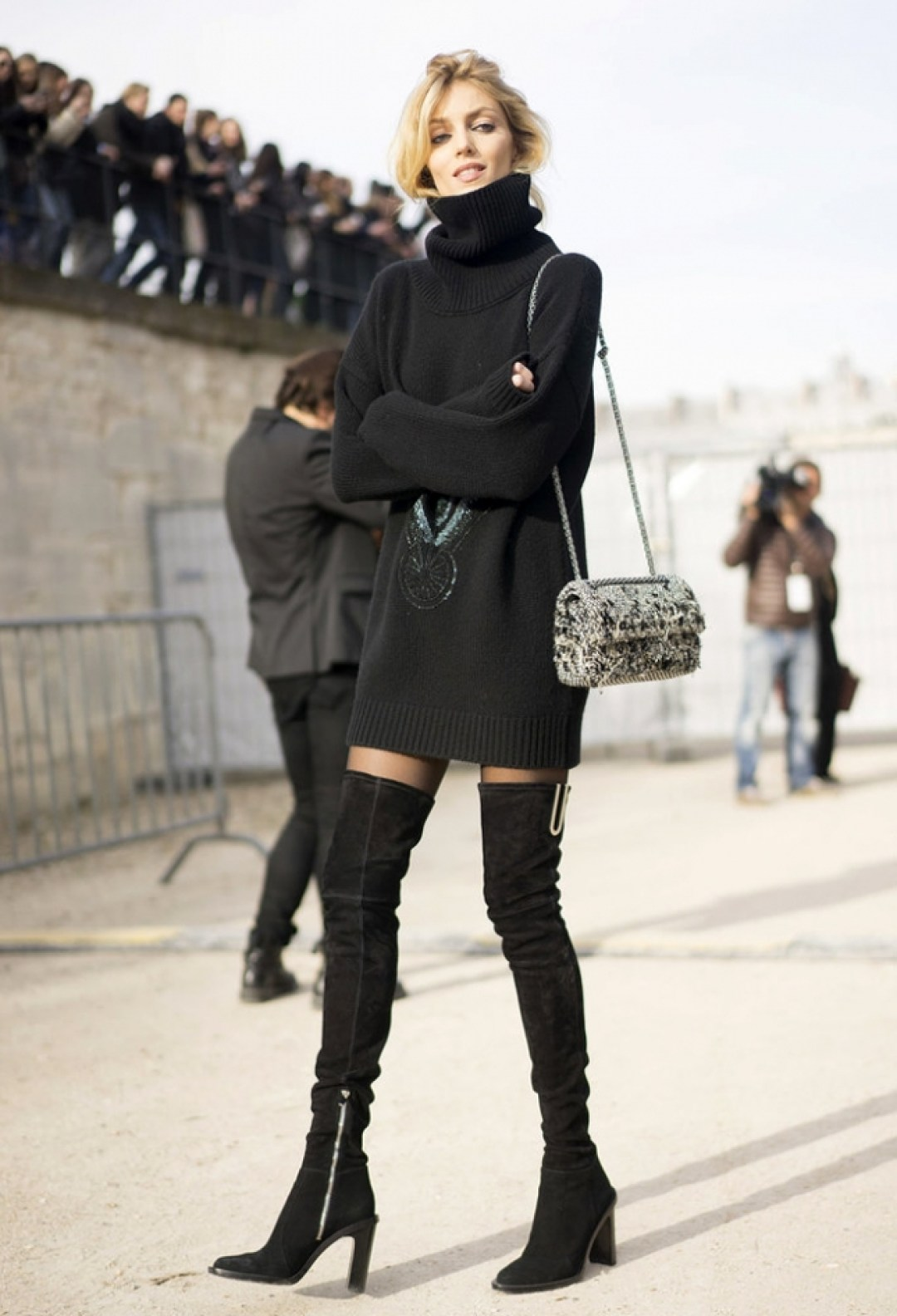 Knit dress thigh high boots wear dresses in winter