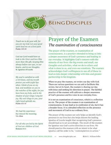 Prayer of the Examen: Examination of Consciousness | Being