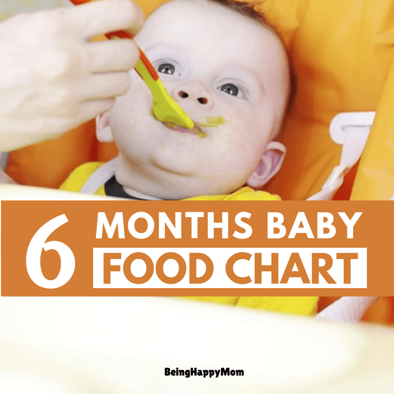 Indian food chart for 6 months baby - Being Happy Mom