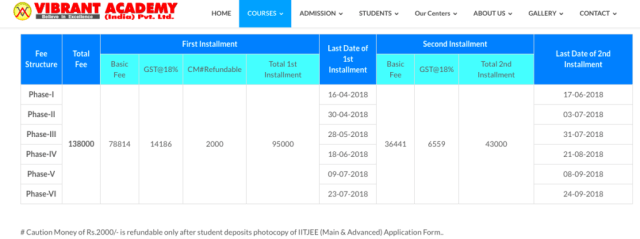 Vibrant Fees Structure and Schlarships 2019
