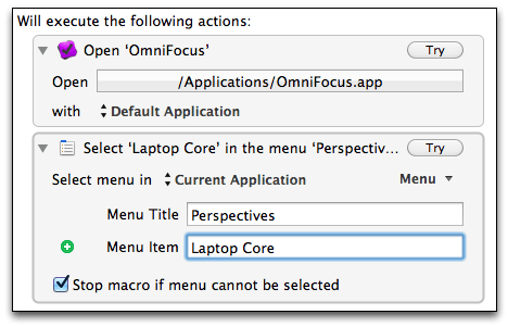 Keyboard Maestro - Assigning Laptop Core menu command 3
