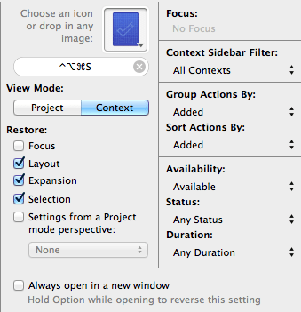 Recent Additions filter settings window