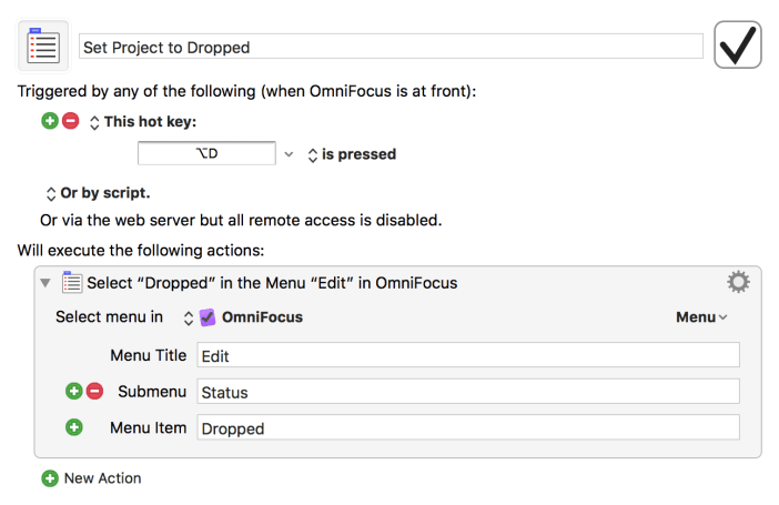 Set OmniFocus project to Dropped settings for Keyboard Maestro