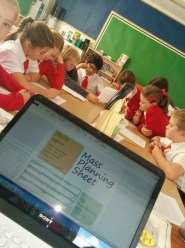 Year 5 Planning hard for the Mass of St Therese