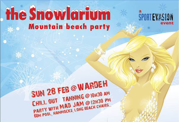 THE SNOWLARIUM mountain beach party
