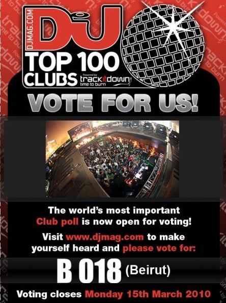 Vote for BO 18 Beirut- DJ Mag Top 100 Clubs