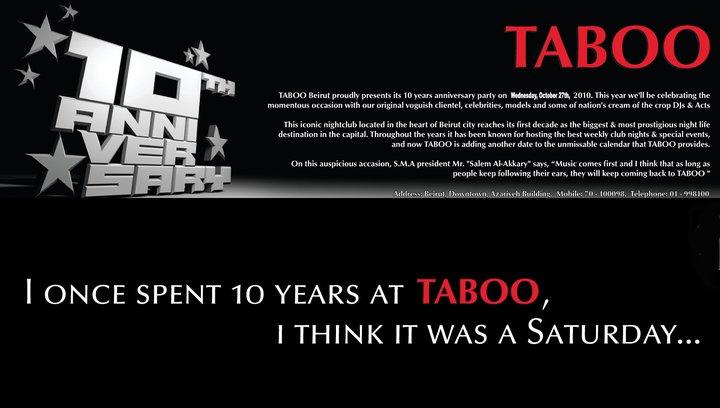 TABOO 10th Anniversary