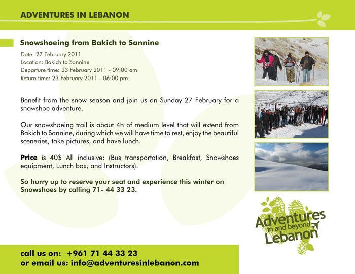 Snowshoeing From Bakich To Sannine