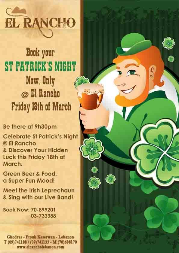 Celebrate Saint Patrick's Night At El Rancho