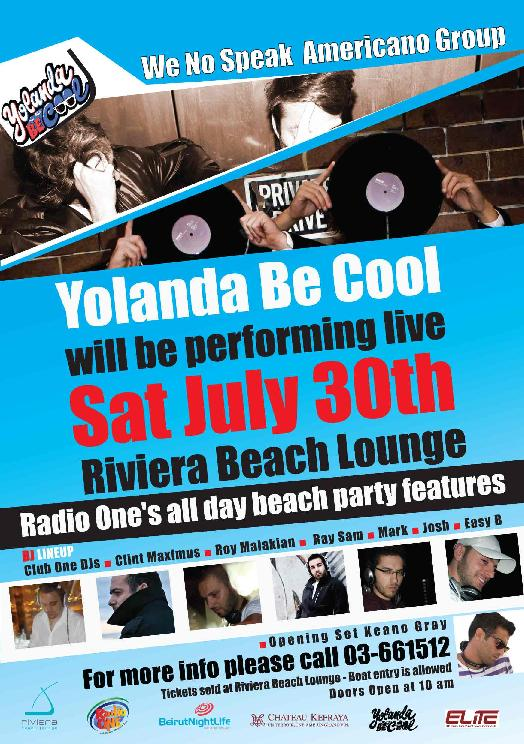 Yolanda Be Cool Will Be Performing Live At Riviera