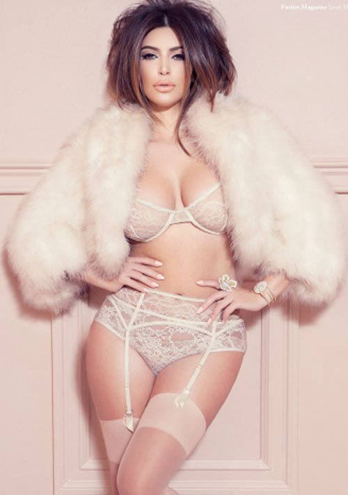Kim Kardashian Strips Down to Lingerie