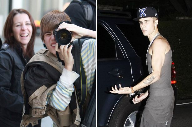 BIEBER WHEN HE FIRST STARTED AND BIEBER NOW-1746279