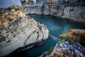 Red Bull Athlete Connecting Beirut's Rocks In Historic 40 Meter Slack Line