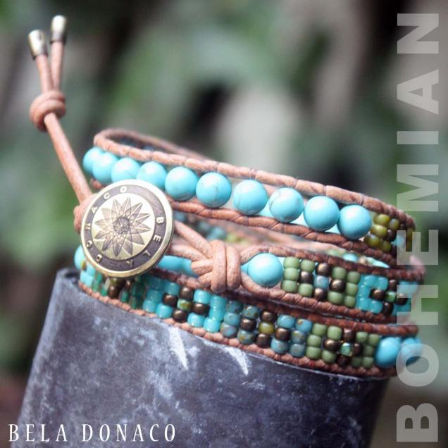 Wikkelarmband Bohemian B6 - Turquoise - Messing - Tsjechisch Glas