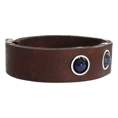Armband Classic W17 – Vintage leder – Lapis Lazuli – Sterling Zilver