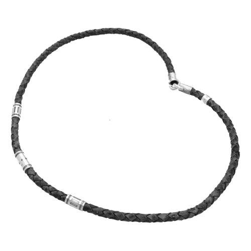Ketting Classic W6 – Zwart gevlochten vintage leder en geoxideerd Sterling Zilver
