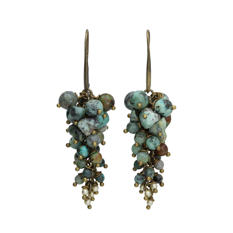 Oorbellen Bohemian Afrikaanse Turquoise Tsjechisch glas Brons 2-2