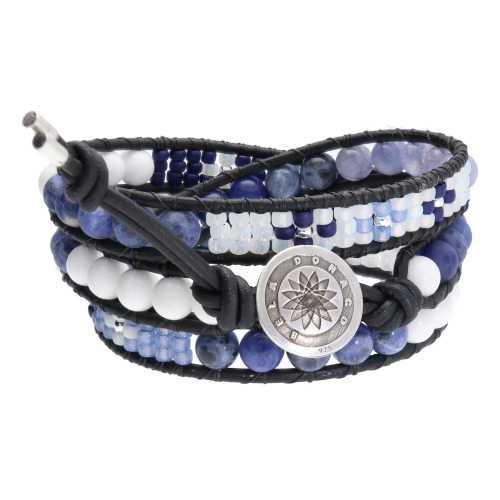 Wikkelarmband Blue Jeans B6 – Witte Jade – Sodaliet – Blauwe Kwarts – Tsjechisch glas