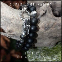 Armband Luxury B8 – Mat Onyx – Geoxideerd Sterling Zilver – 50% Korting