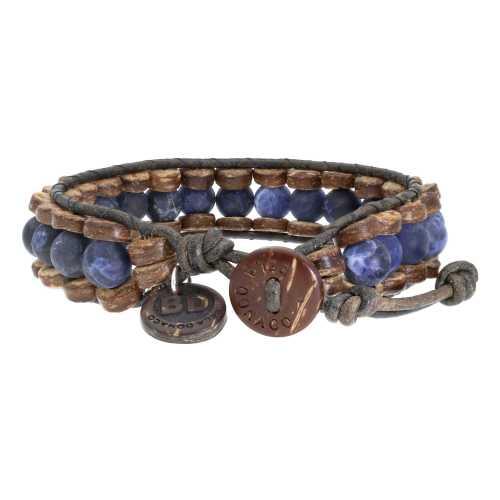 Armband Blue Jeans B8 – Mat Sodaliet – kokos – leer