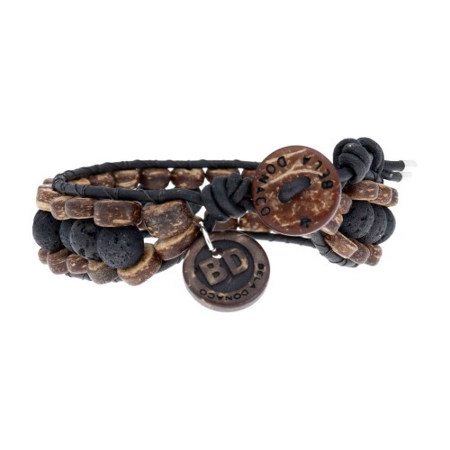 Armband Classic B8 – Zwart – Lavasteen – kokos – leer