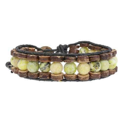 Armband Classic B8 – Geel – Gele Turquoise – kokos – leer