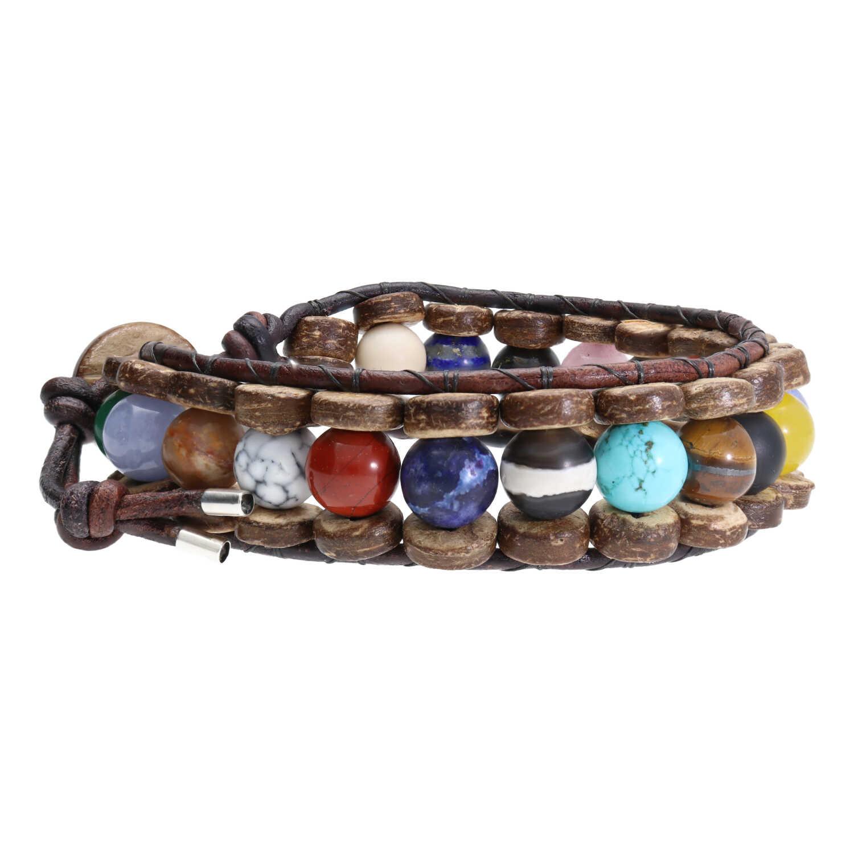 Armband Classic B8 Mixed color Diverse edelstenen kokos leer-1