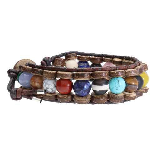 Armband Classic B8 – Mixed color – Diverse edelstenen – kokos – leer