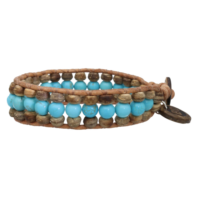 Armband Bohemian blue B6 Blauw Turquoise Kokos leer-2