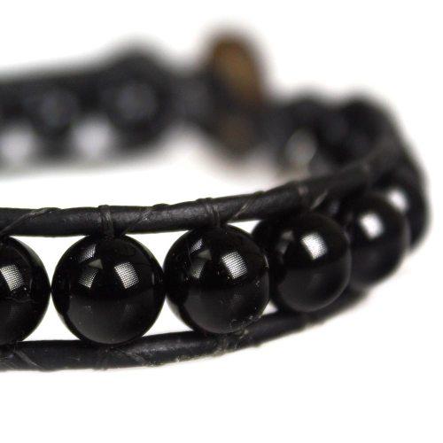 Armband Classic B8 – zwart – Onyx – Leer – Sterling Zilver