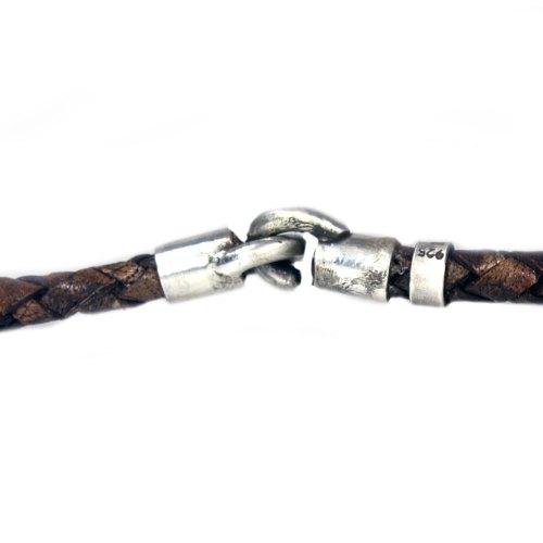 Ketting Classic W6 – Zwarte Parels – bruin gevlochten vintage leder – geoxideerd Sterling Zilver