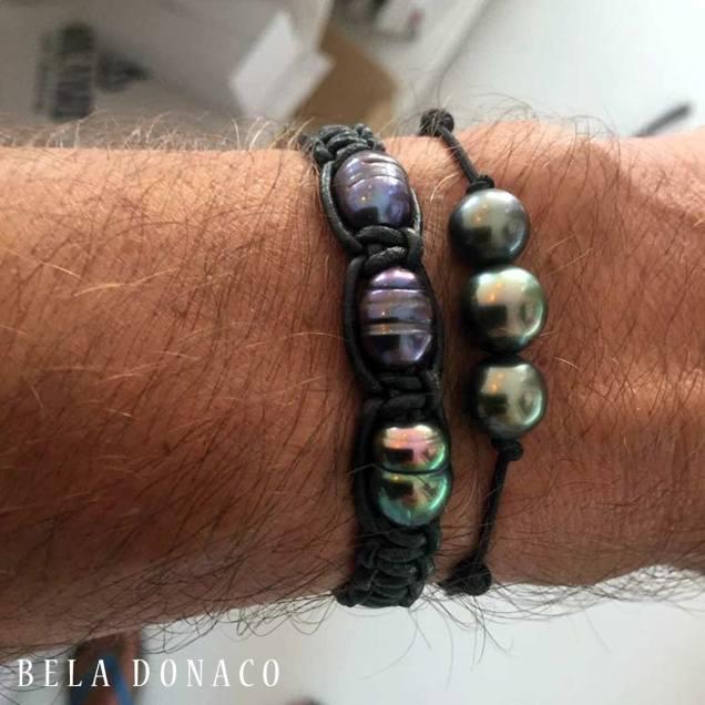 Heren armband met zwarte parels