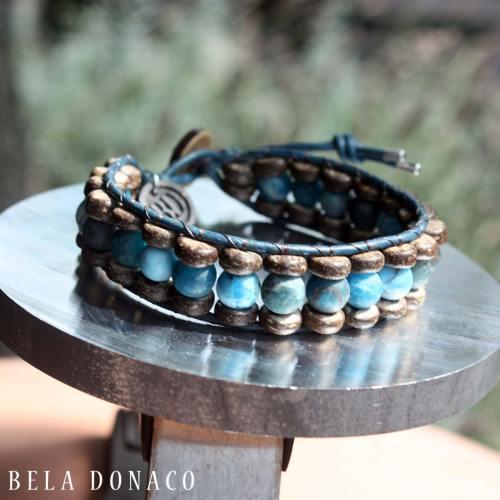 Armband Blue Jeans B8 – Mat Apatiet – kokos – leer
