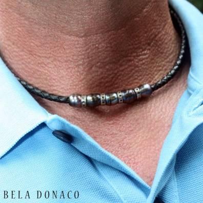 Herenketting met zwarte parels, leder en geoxideerd sterling zilver