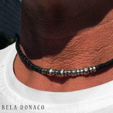 Ketting Classic W6 - zwart gevlochten vintage leder - geoxideerd Sterling Zilveren kralen