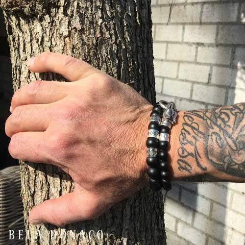 Armband Luxury B10 – Zwarte mat Onyx – Geoxideerd Sterling Zilver
