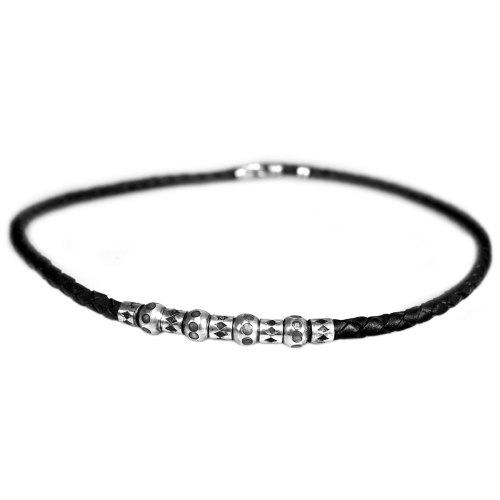 Ketting Classic W6 – zwart gevlochten leder – geoxideerd Sterling Zilveren kralen