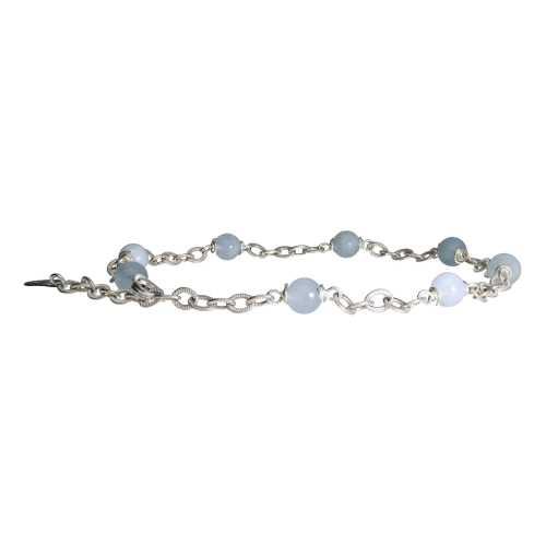 Enkelbandje Wrap Wire B6 – Aquamarijn – Sterling Zilver