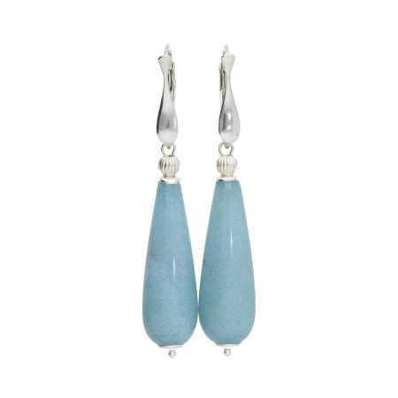 Oorbellen Art Deco Blauwe Jade Sterling Zilver-1