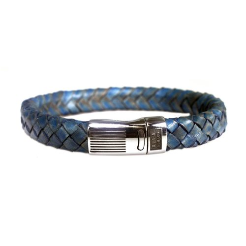 Armband Business line W12 – RVS – Gevlochten vintage blauw leder