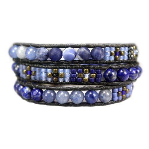 Wikkelarmband Bohemian B6 – Lapis Lazuli – Sodaliet – Tsjechisch glas