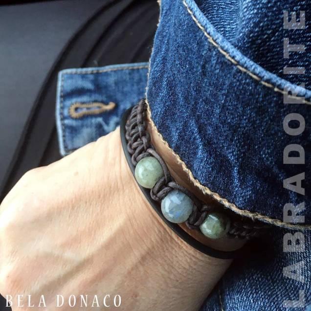 Armband Classic B10 – Labradoriet – Geoxideerd Sterling Zilver – Vintage leer