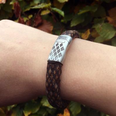 Armband Business line W12 - geborsteld RVS - bruin snakeprint eco leder