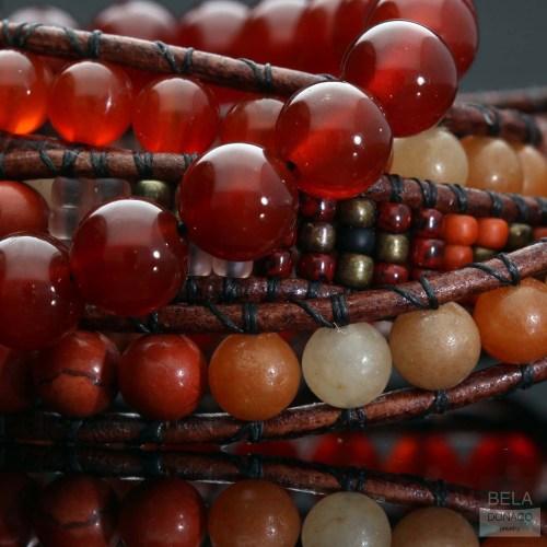 Wikkelarmband Bohemian B6 – Redstone – Carneol – Rode Aventurijn – Tsjechisch glas