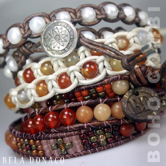 Prachtige boho combinatie van Bela Donaco wikkelarmbanden.