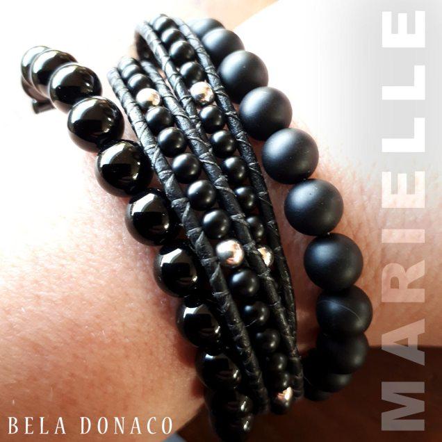 Blije klant Marielle. Onyx armbanden combinatie