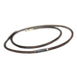Set – Hanger Sterling Zilveren Kruis – 4.5 x 3 cm en Vintage lederen ketting – Vintage leder – Sterling Zilver
