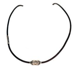 Ketting Limited Edition W10 – Bruin vintage leder – Handmade spacer – geoxideerd Sterling Zilver