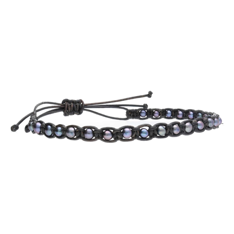 Heren enkelband Classic B4.5 Zwarte parels Leder-3