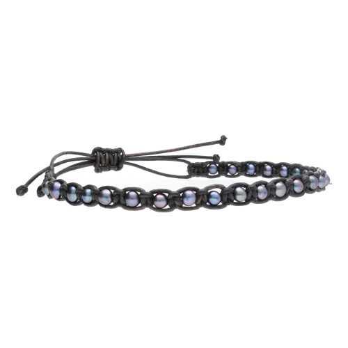 Heren enkelband Classic B4.5 – Zwarte parels – Leder